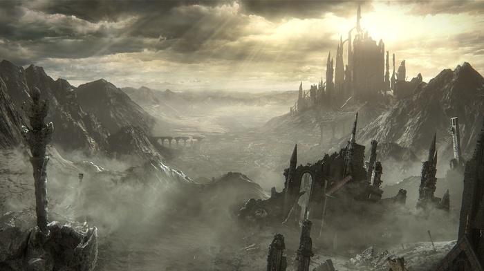 castle, Dark Souls III, midevil, Gothic, fighting, fire, video games, sword, knight, dark, Dark Souls, landscape