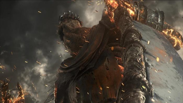 castle, fire, video games, midevil, Dark Souls, Dark Souls III, sword, knight, fighting, landscape, Gothic, dark