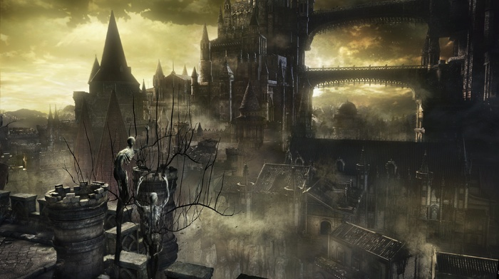 Gothic, knight, fire, midevil, landscape, Dark Souls, video games, sword, castle, concept art, dark, fantasy art, fighting, Dark Souls III