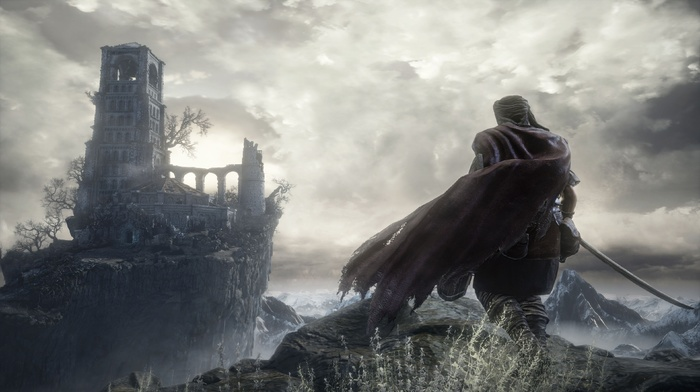 Dark Souls III, Gothic, video games, fighting, Dark Souls, landscape, dark, knight, castle, sword, fire, midevil