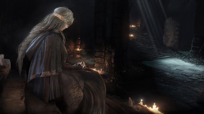sword, Gothic, dark, castle, knight, video games, landscape, fighting, Dark Souls III, Dark Souls, fire