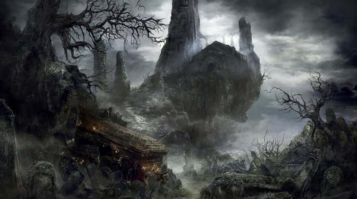 castle, landscape, dark, Gothic, video games, sword, fighting, Dark Souls, fire, midevil, Dark Souls III, knight