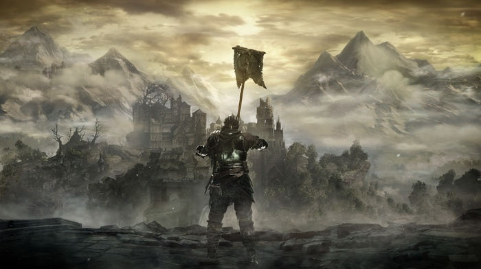 Dark Souls, knight, Gothic, Dark Souls III, landscape, dark, magic, midevil, looking into the distance