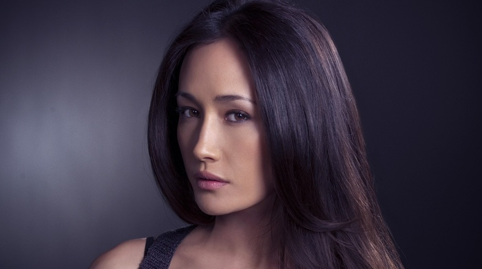looking at viewer, girl, brown eyes, brunette, portrait, photography, Maggie Q