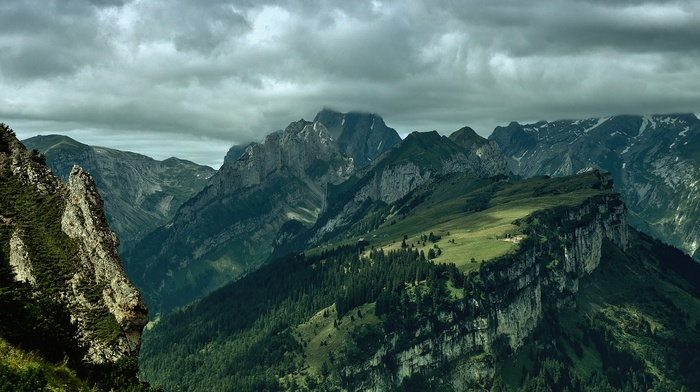 trees, storm, mountains, nature, landscape, clouds, photography