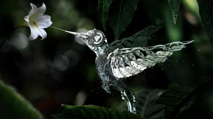 leaves, edited, flowers, macro, humming bird, mechanics, bokeh