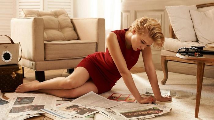 legs, actress, La Seydoux, blonde, girl, short hair, dress, newspapers, red dress, red lipstick