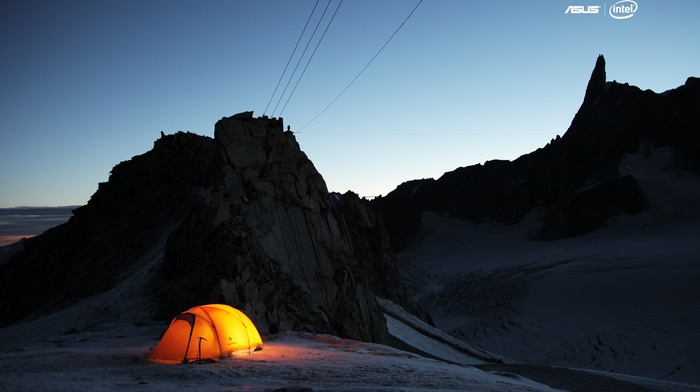 tent, snow, night, Intel, electricity cable