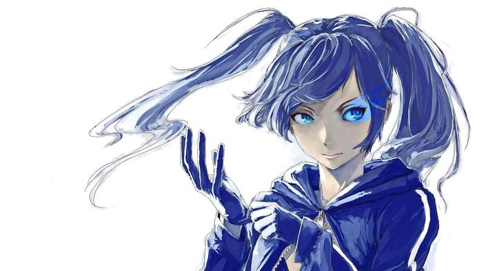 blue eyes, anime, long hair, looking away, anime girls, Black Rock Shooter