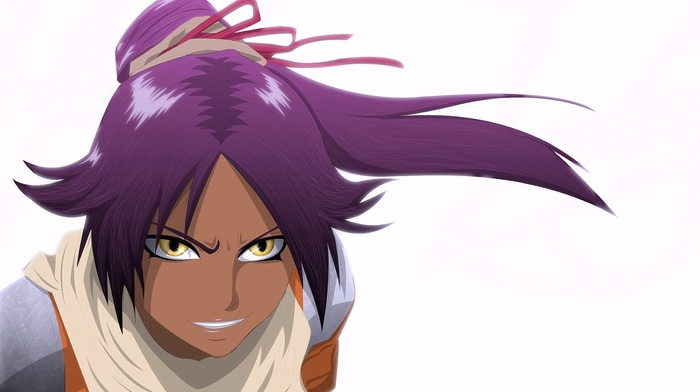 anime girls, looking at viewer, violet hair, smiling, anime, Bleach, Shihouin Yoruichi, yellow eyes, white background