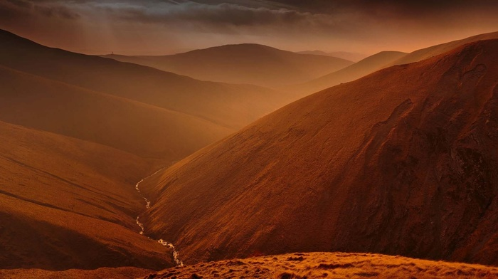 mountains, valley, river, clouds, nature, mist, amber, sunlight, hills, landscape, ravine