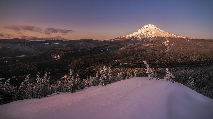Oregon, snow, nature, forest, sunset, snowy peak, mountains, winter, landscape