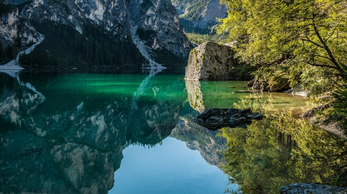 sunlight, nature, water, morning, trees, lake, landscape, forest, mountains, reflection, Italy