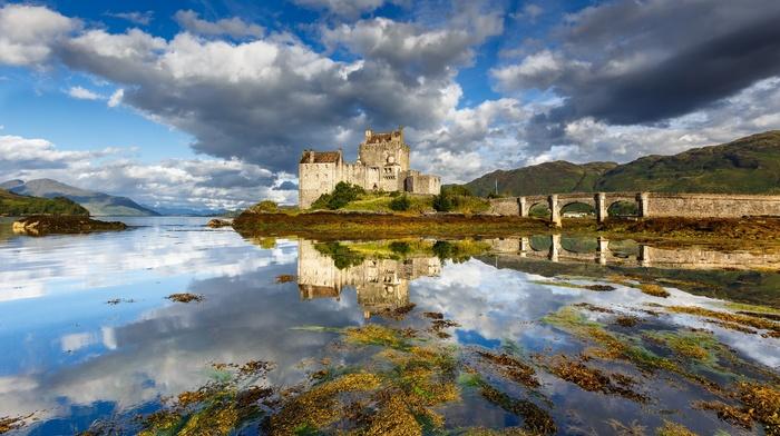 lake, Scotland, landscape, Eilean Donan, hills, reflection, castle, clouds, architecture, old, sunlight, bridge, nature
