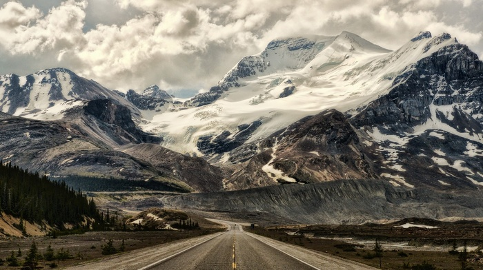 nature, snowy peak, forest, Alberta, panoramas, landscape, clouds, mountains, Canada, road