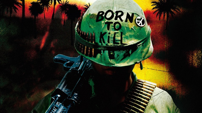 gun, helmet, Full Metal Jacket, Vietnam War, movies, artwork, peace sign