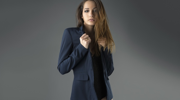 Elizabeth Blasco, portrait, lingerie, girl, simple background