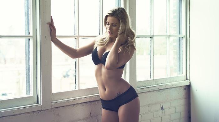 window, girl, blonde, tattoo, black lingerie