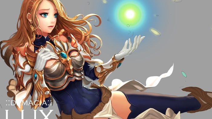 Lux League of Legends, long hair, armor, anime girls, League of Legends, anime