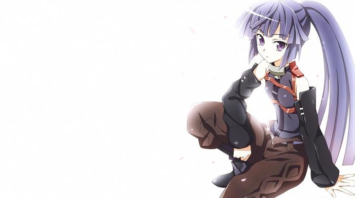 purple hair, Log Horizon, long hair, simple background, purple eyes, anime, Akatsuki Log Horizon, anime girls