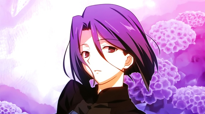anime girls, open mouth, flowers, violet hair, anime, fatezero, maiya hisau, short hair