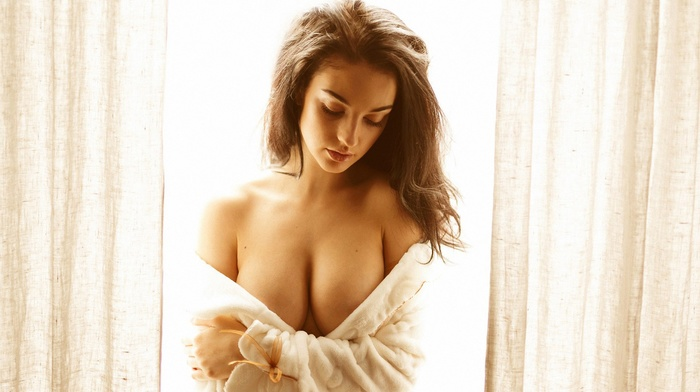 model, girl, window, boobs, portrait, Alla Berger, closed eyes