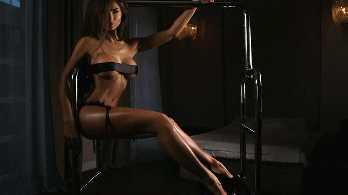 ass, brunette, strategic covering, girl, panties, high heels, Daria Shy