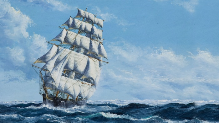 water, sailing ship, painting, sea, waves, sky, clouds