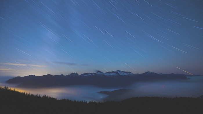 stars, sky, landscape, mountains