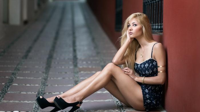 blonde, sitting, model, girl, high heels