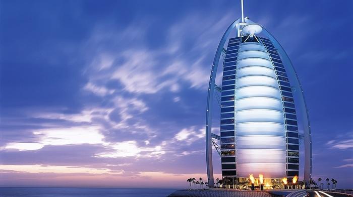 Islamic architecture, Burj Al Arab, hotel, building, cityscape, lights, city, sea, urban, architecture, clouds, blue, Dubai
