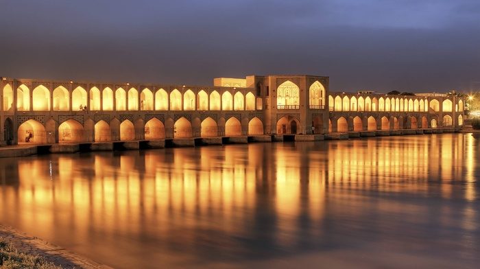 lights, Islamic architecture, Iran, night, river, architecture, photography, Khaju Bridge