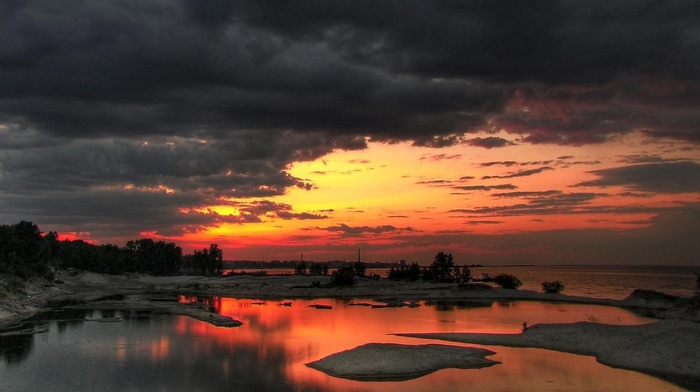lake, photography, trees, clouds, sunset