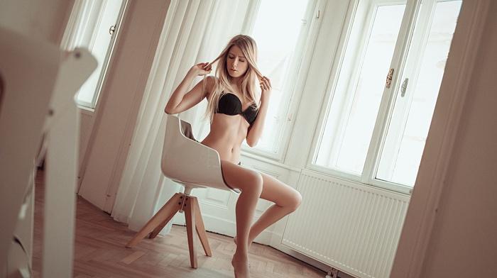 sitting, bra, black bras, model, blonde, girl, window