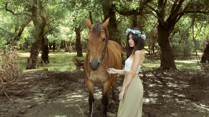 model, girl, animals, horse