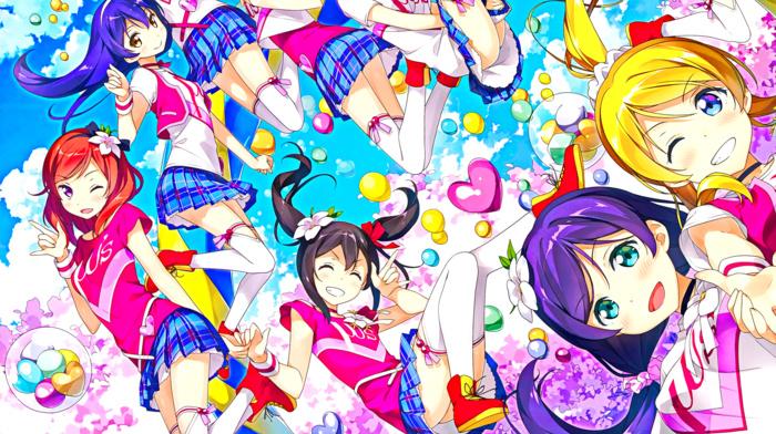 closed eyes, Ayase Eri, anime girls, ass, open mouth, pink eyes, long hair, Hoshizora Rin, Love Live, green eyes, smiling, blue eyes, blonde, anime, redhead, pink hair, short hair, brunette, Koizumi H, looking at viewer, cheerleaders