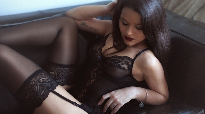 lingerie, garter belt, girl, lace, black lingerie, brunette, stockings, Laurent Kac, black stockings, red lipstick, tattoo