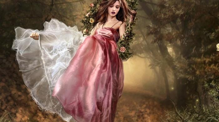 digital art, grass, trees, swings, girl
