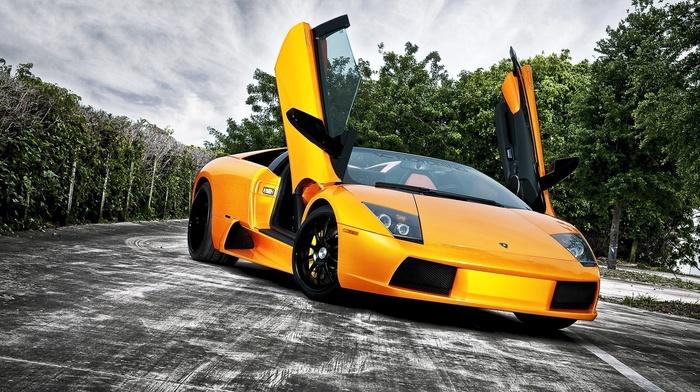 yellow, car, Lamborghini, black, dark, Lamborghini Murcielago LP650, 4 Roadster