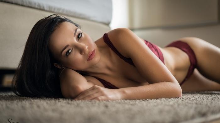 sideboob, lying on side, Stephan Hainzl, red bra, on the floor, cleavage, girl, lingerie, black hair, brunette, red panties, face, Angelina Petrova
