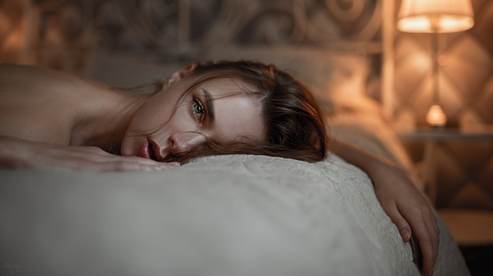Georgy Chernyadyev, face, Victoria Vishnevetskaya, in bed, lying on front, girl, blue eyes, open mouth, bare shoulders, portrait, brunette, emotional, Viktoria Vishnevetskaya