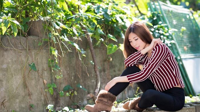 girl, depth of field, sitting, closed eyes, model, Asian, leggings, long hair, auburn hair, girl outdoors