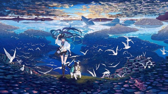 aqua hair, Hatsune Miku, sky, anime, long hair, crabs, anime girls, Vocaloid, clouds, dog, aqua eyes, birds, smiling, water, landscape, looking away, lantern, hat, boat, camera, wink, bikini top, animals