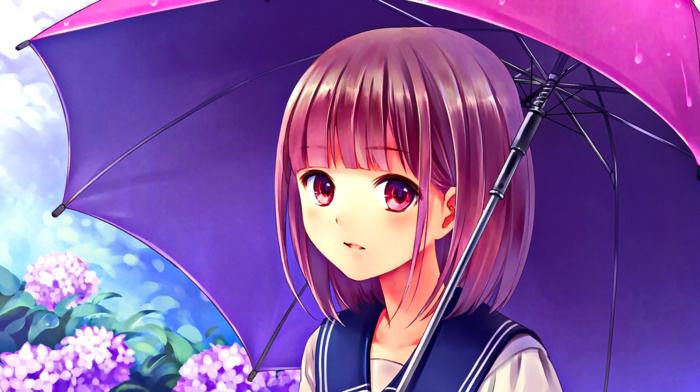 anime girls, anime, looking at viewer, pink eyes, umbrella, pink hair, school uniform, open mouth, flowers