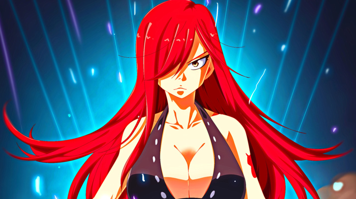 Scarlet Erza, looking at viewer, anime girls, Fairy Tail, long hair, anime, redhead