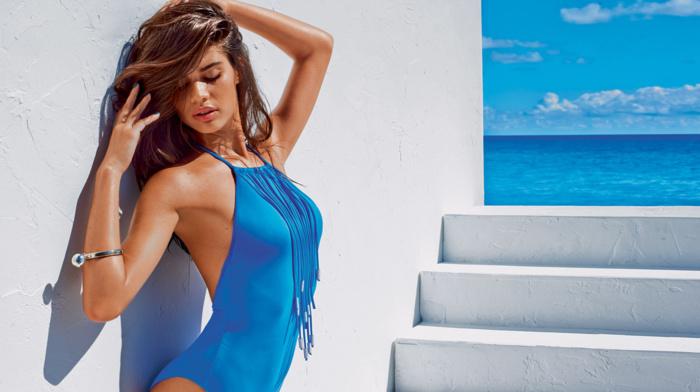 One, piece swimsuit, hands on head, girl, swimwear, model, wet look, brunette, Sara Sampaio, girl outdoors, closed eyes
