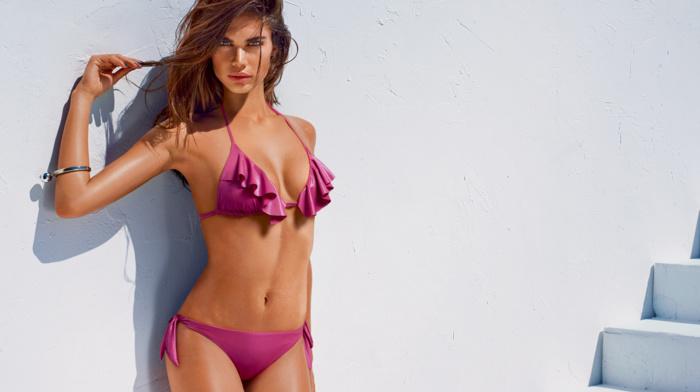 swimwear, girl outdoors, model, looking at viewer, brunette, bikini, girl, wet look, Sara Sampaio