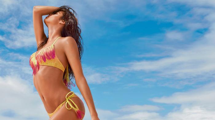 model, bikini, brunette, girl outdoors, sensual gaze, Sara Sampaio, wet look, girl, arched back, swimwear, hands on head