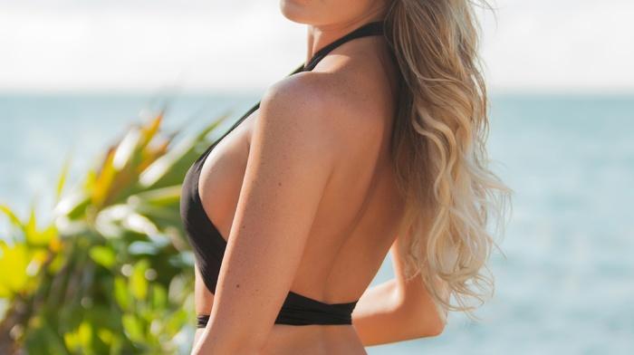 blonde, Samantha Hoopes, swimwear, portrait display, girl outdoors, looking at viewer, bikini, model, girl