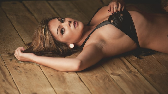 model, Keshia Hamlani, tattoo, on the floor, girl, looking at viewer, wood, armpits